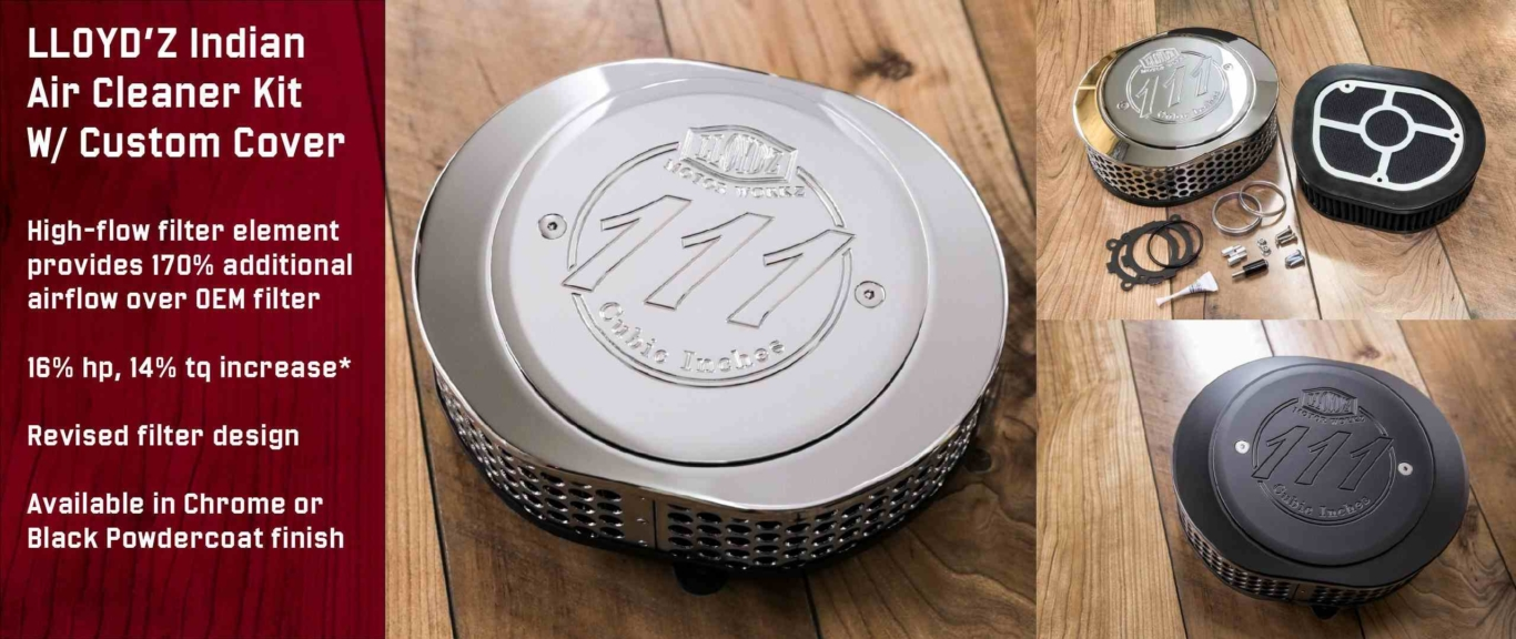 LLOYD'Z Indian Air Cleaner Kit with Custom Cover