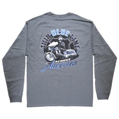 Thin Blue Line Across America Long-Sleeve T-Shirt, Grey